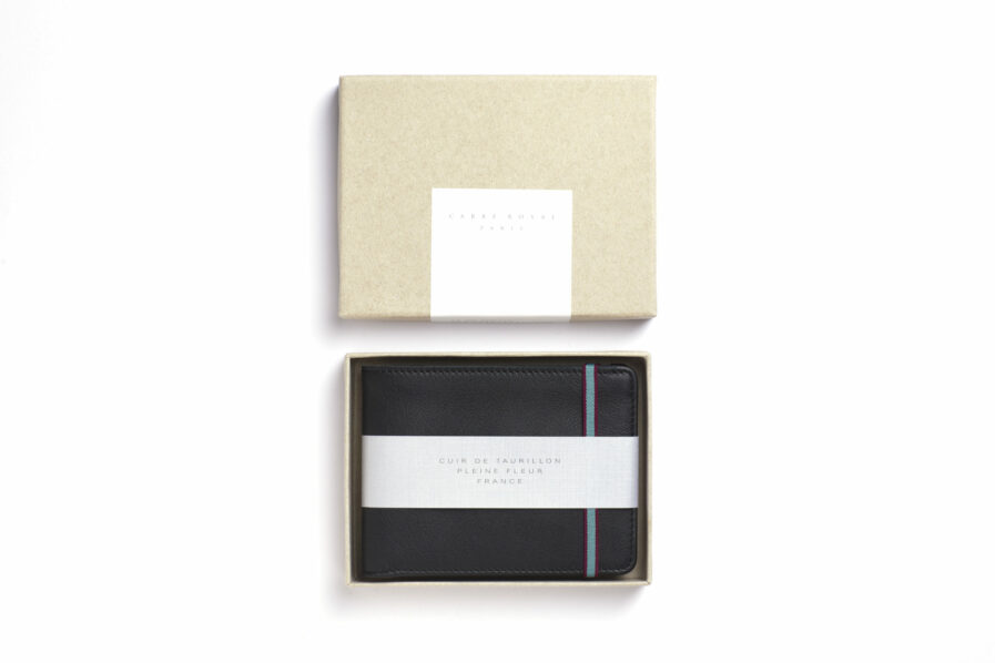 Black Minimalist Wallet by Carré Royal in the Box (LA902 Noir)
