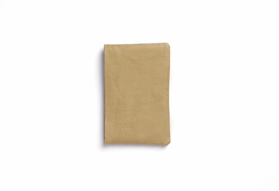 Vegetal Tanned Leather Beige Canvas Card Holder by Carré Royal Back (JA003 Beige)