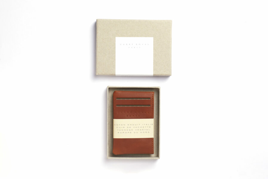 Vegetal Tanned Leather Beige Canvas Card Holder by Carré Royal in the Box (JA003 Beige)