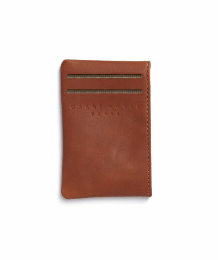 Vegetal Tanned Leather Beige Canvas Card Holder by Carré Royal Front (JA003 Beige)