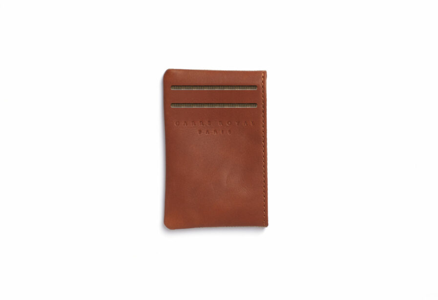 Vegetal Tanned Leather Beige Canvas Card Holder by Carré Royal Front (JA003 Beige)