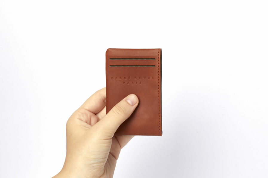 Vegetal Tanned Leather Beige Canvas Card Holder by Carré Royal at Hand (JA003 Beige)