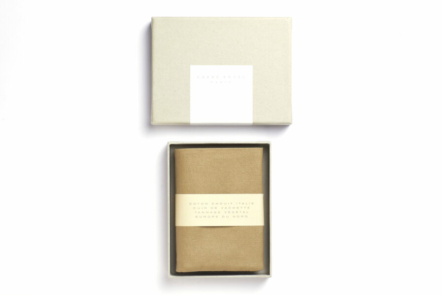 Beige canvas Wallet with Vegetal Tanned Leather trim by Carré Royal in the Box (JA104 Beige)
