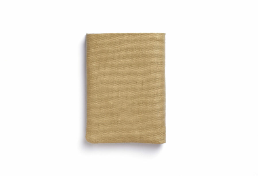 Beige canvas Wallet with Vegetal Tanned Leather trim by Carré Royal Front (JA104 Beige)