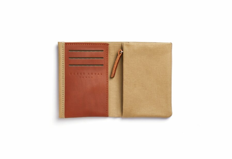 Beige canvas Wallet with Vegetal Tanned Leather trim by Carré Royal Open (JA104 Beige)