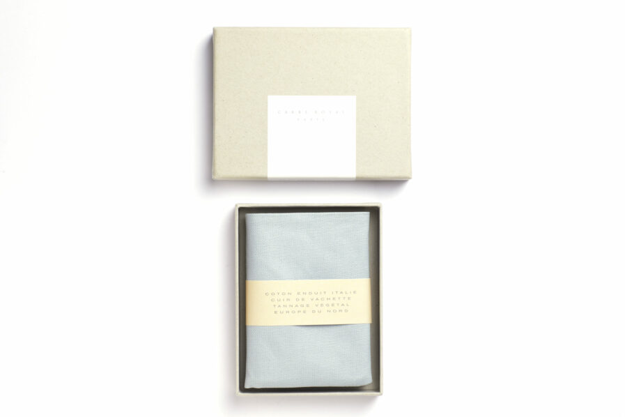 Light Blue canvas Wallet with Vegetal Tanned Leather trim by Carré Royal in the Box (JA104 Bleu Ciel)