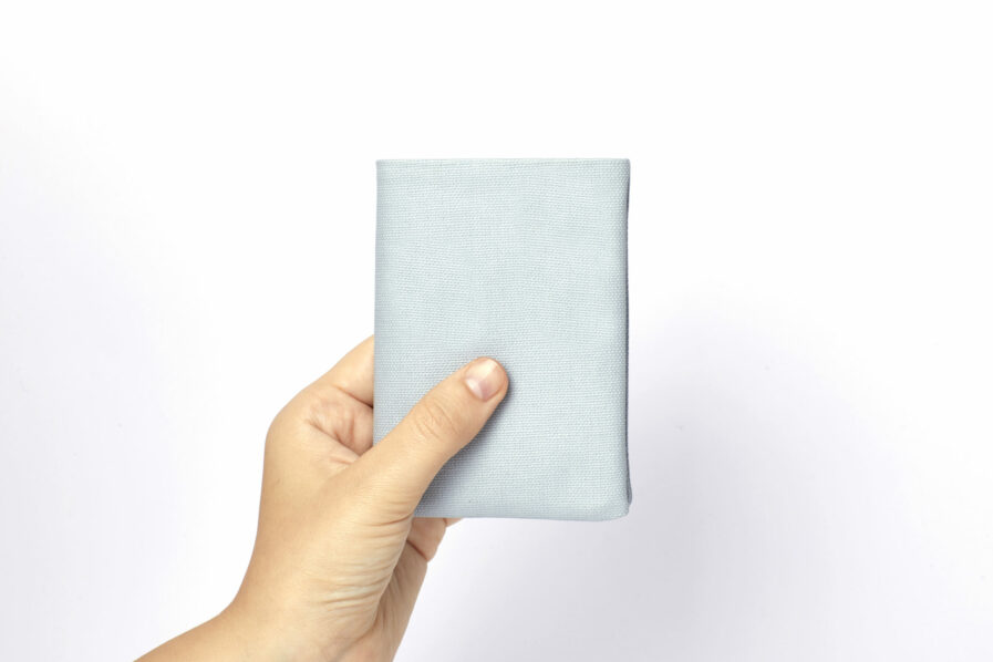 Light Blue canvas Wallet with Vegetal Tanned Leather trim by Carré Royal at Hand (JA104 Bleu Ciel)
