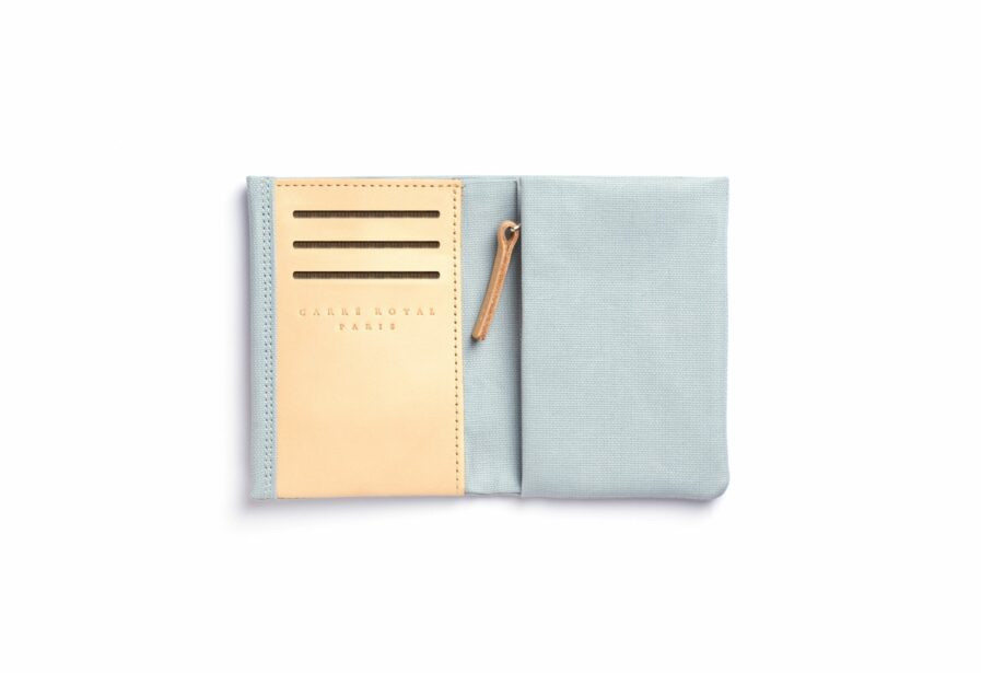 Light Blue canvas Wallet with Vegetal Tanned Leather trim by Carré Royal Open (JA104 Bleu Ciel)