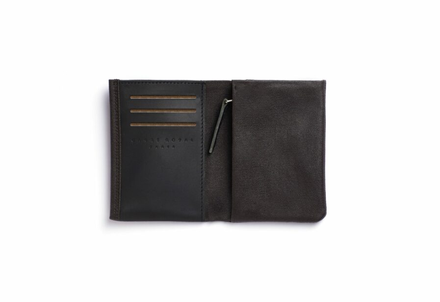 Brown canvas Wallet with Vegetal Tanned Leather trim by Carré Royal Open (JA104 Marron)