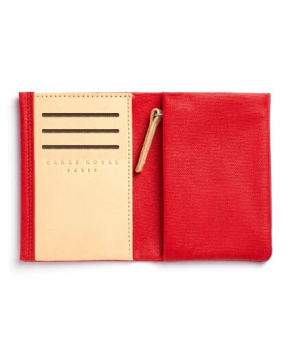 Red canvas wallet with Vegetal Tanned Leather trim by Carré Royal Open (JA104 Rouge)