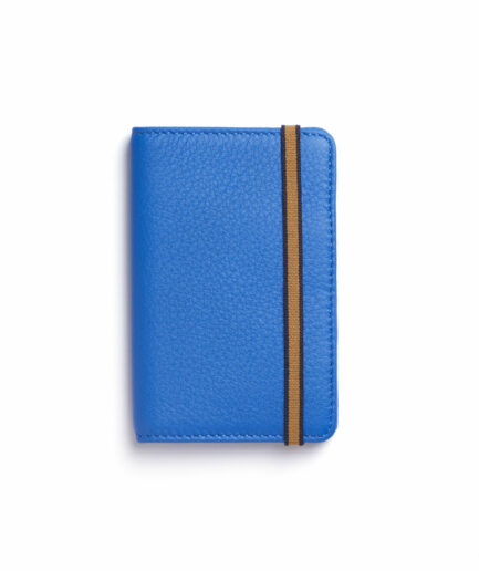 Light Blue Card Holder in Calfskin Leather by Carré Royal Front (LA024 Bleu Ciel)