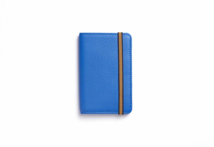 Light Blue Card Holder in Calfskin Leather by Carré Royal Front (LA024 Bleu Ciel)