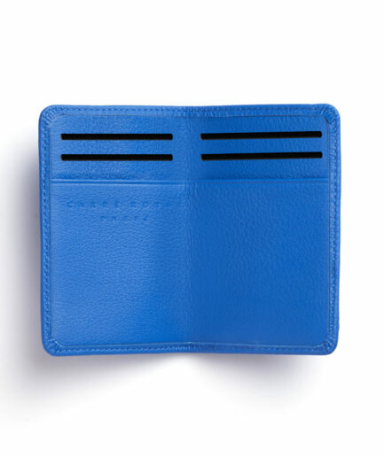 Light Blue Card Holder in Calfskin Leather by Carré Royal Open (LA024 Bleu Ciel)