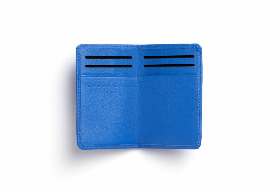 Light Blue Card Holder in Calfskin Leather by Carré Royal Open (LA024 Bleu Ciel)