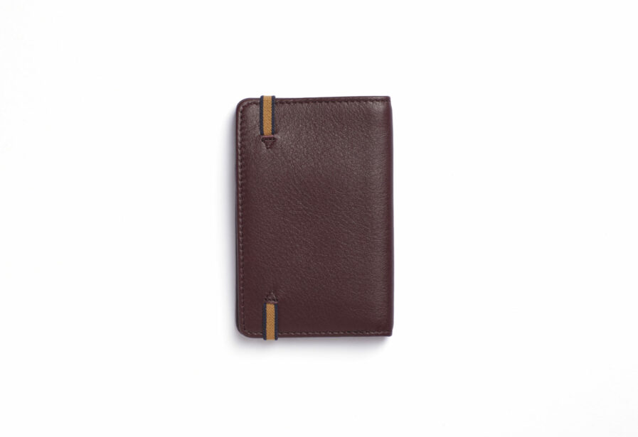 Burgundy Card Holder in Calfskin Leather by Carré Royal Back (LA024 Bordeaux)