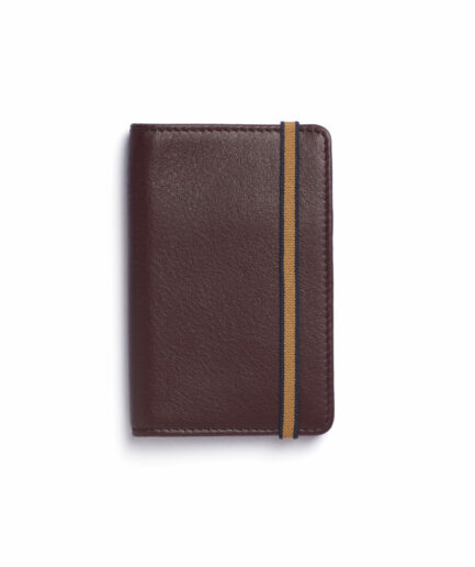 Burgundy Card Holder in Calfskin Leather by Carré Royal Front (LA024 Bordeaux)