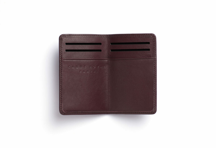 Burgundy Card Holder in Calfskin Leather by Carré Royal Open (LA024 Bordeaux)