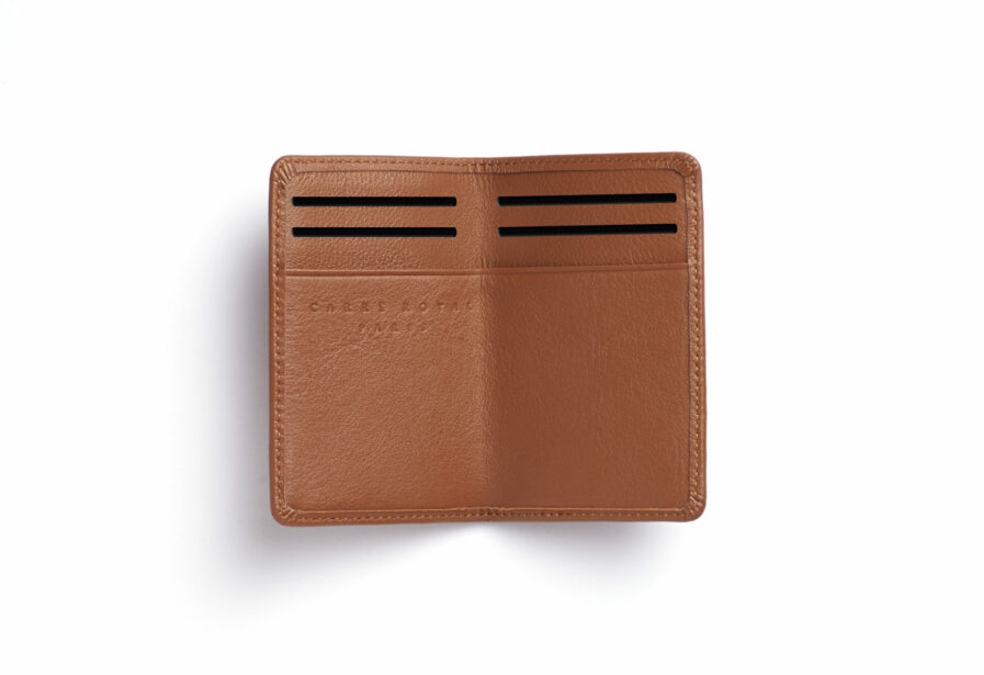 Gold Card Holder in Calfskin Leather by Carré Royal Open (LA024 Gold)