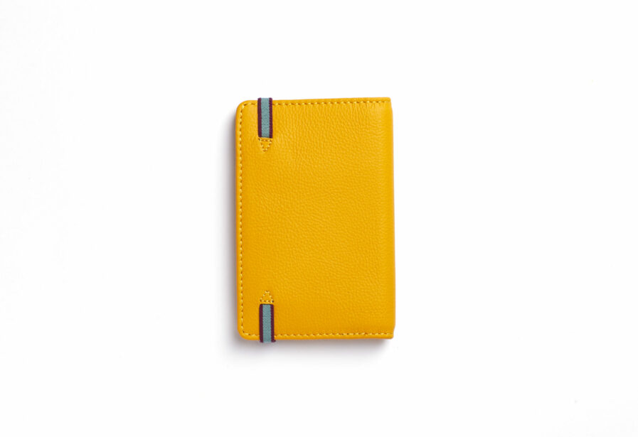 Yellow Card Holder in Calfskin Leather by Carré Royal Back (LA024 Jaune)