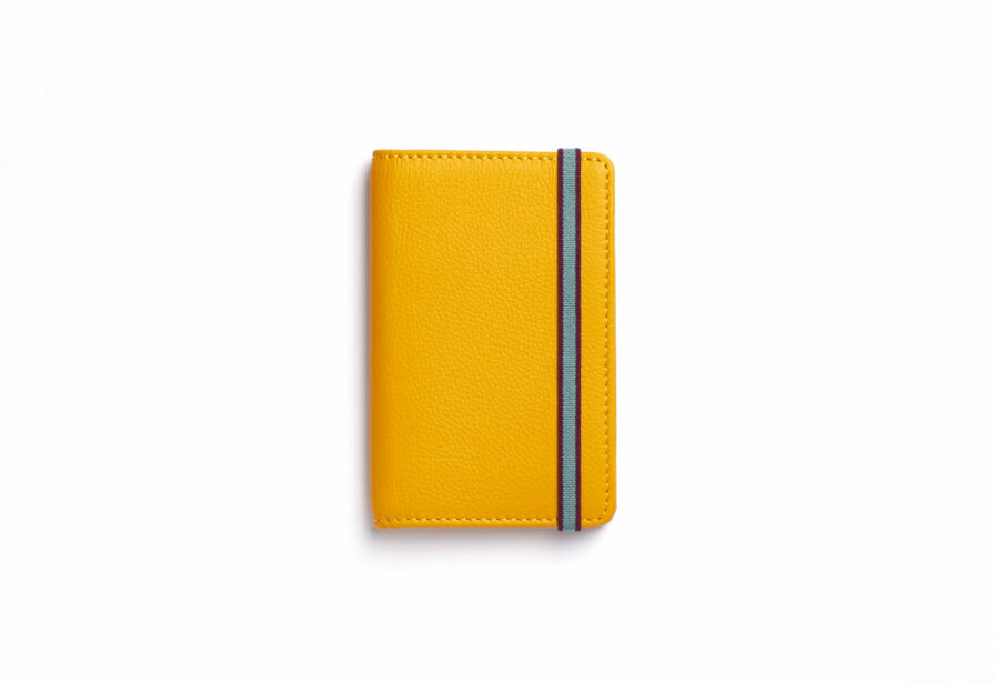 Yellow Card Holder in Calfskin Leather by Carré Royal Front (LA024 Jaune)