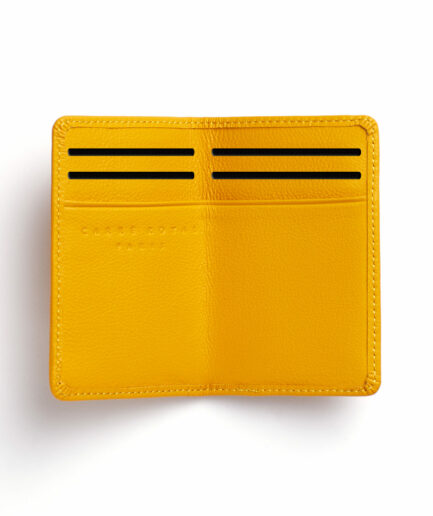 Yellow Card Holder in Calfskin Leather by Carré Royal Open (LA024 Jaune)