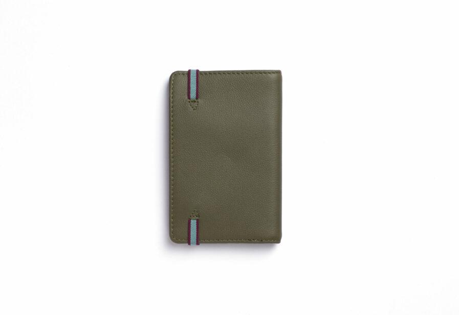 Kaki Card Holder in Calfskin Leather by Carré Royal Back (LA024 Kaki)