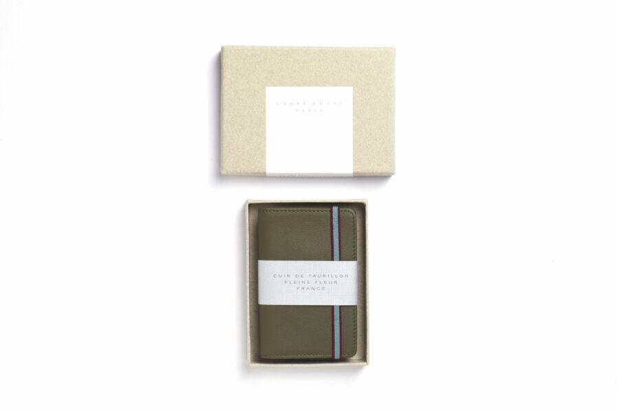 Kaki Card Holder in Calfskin Leather by Carré Royal in the Box (LA024 Kaki)