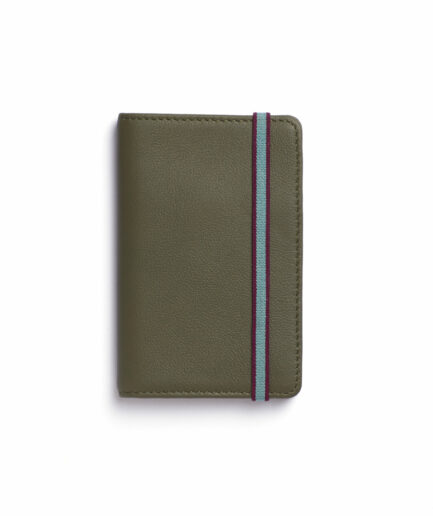 Kaki Card Holder in Calfskin Leather by Carré Royal Front (LA024 Kaki)
