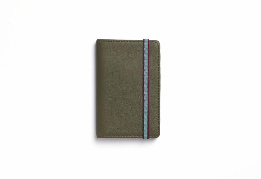 Kaki Card Holder in Calfskin Leather by Carré Royal Front (LA024 Kaki)
