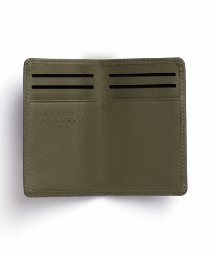 Kaki Card Holder in Calfskin Leather by Carré Royal Open (LA024 Kaki)