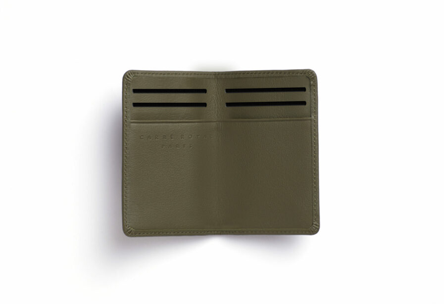 Kaki Card Holder in Calfskin Leather by Carré Royal Open (LA024 Kaki)
