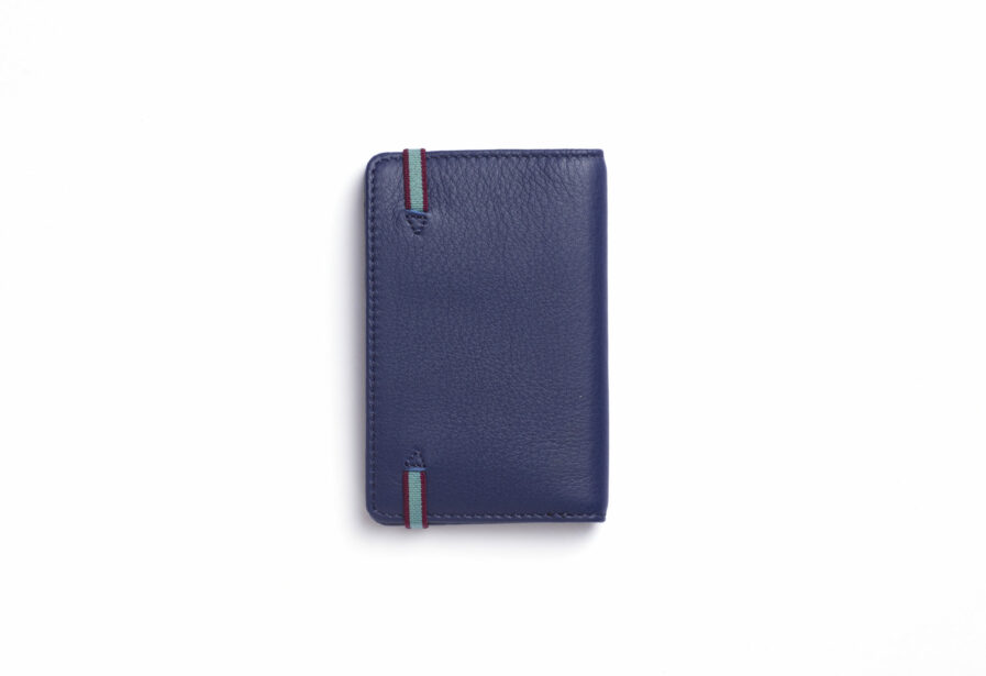 Navy Card Holder in Calfskin Leather by Carré Royal Back (LA024 Marine)