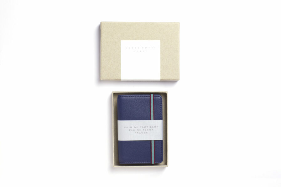 Navy Card Holder in Calfskin Leather by Carré Royal in the Box (LA024 Marine)