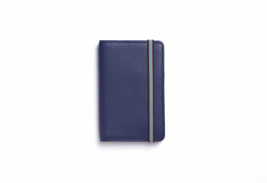 Navy Card Holder in Calfskin Leather by Carré Royal Front (LA024 Marine)