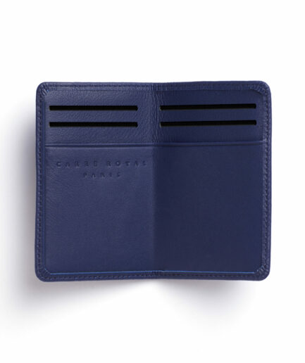Navy Card Holder in Calfskin Leather by Carré Royal Open (LA024 Marine)