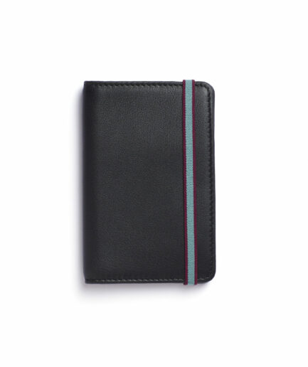 Black Card Holder in Calfskin Leather by Carré Royal Front (LA024 Noir)