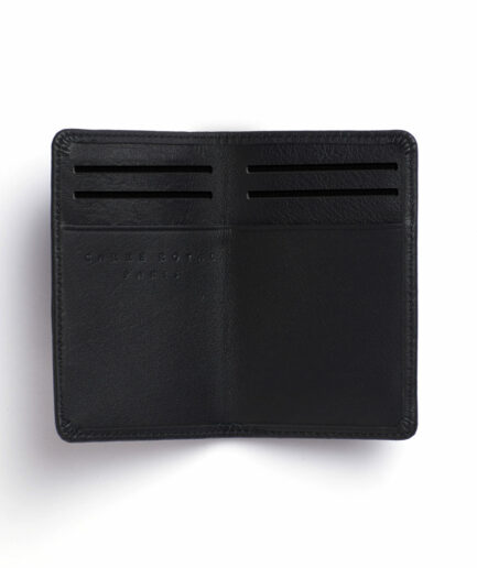 Black Card Holder in Calfskin Leather by Carré Royal Open (LA024 Noir)