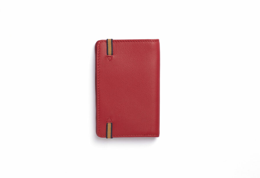 Red Card Holder in Calfskin Leather by Carré Royal Back (LA024 Rouge)