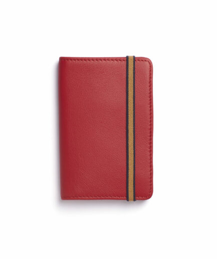 Red Card Holder in Calfskin Leather by Carré Royal Front (LA024 Rouge)
