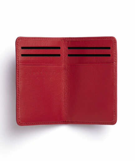 Red Card Holder in Calfskin Leather by Carré Royal Open (LA024 Rouge)