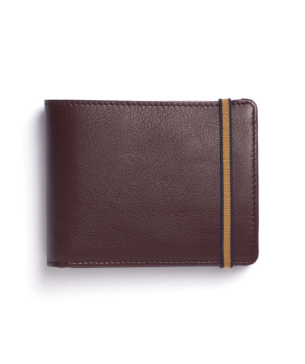 Burgundy Minimalist Wallet With Coin Pocket by Carré Royal Front (LA901-Bordeaux)