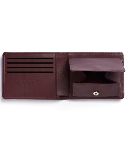 Burgundy Minimalist Wallet With Coin Pocket by Carré Royal Open (LA901-Bordeaux)