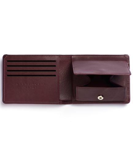 Burgundy Minimalist Wallet With Coin Pocket by Carré Royal Open (LA901-Bordeaux)