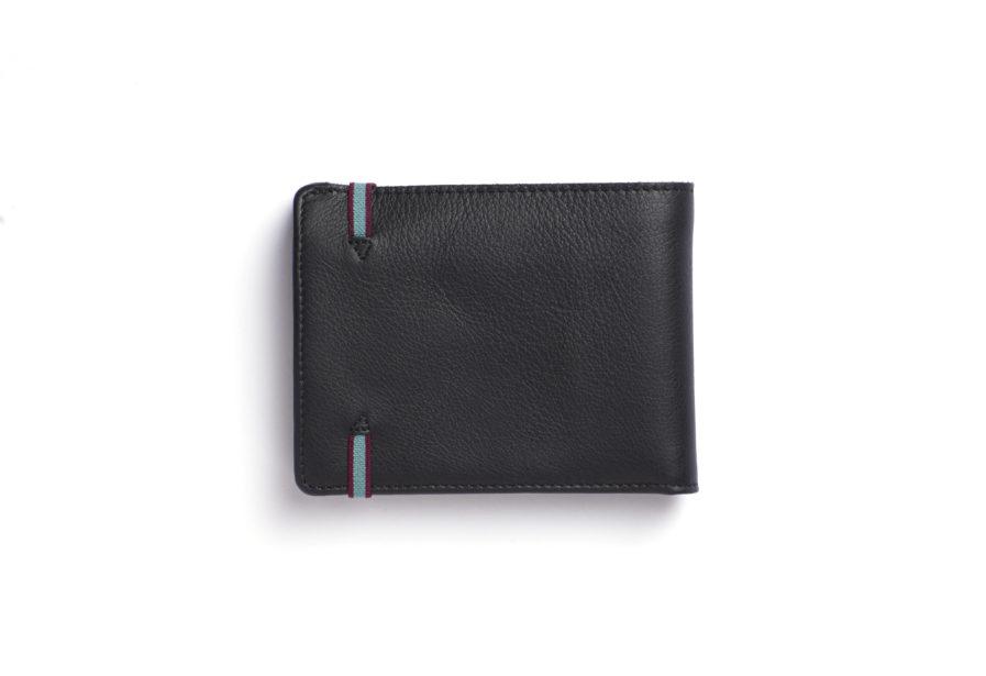 Black Minimalist Wallet With Coin Pocket by Carré Royal Back (LA901-Noir)