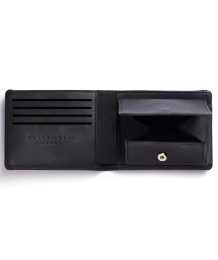 Black Minimalist Wallet With Coin Pocket by Carré Royal Open (LA901-Noir)