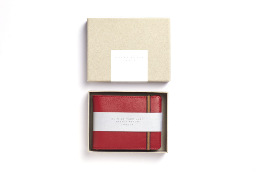 Red Minimalist Wallet With Coin Pocket by Carré Royal Box (LA901-Rouge)