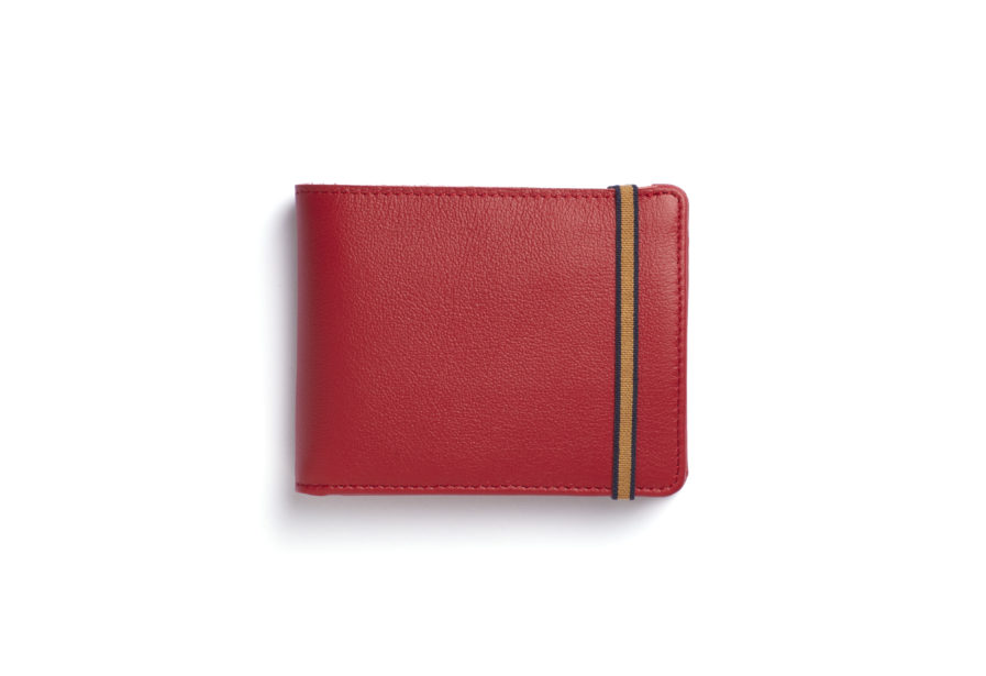 Red Minimalist Wallet With Coin Pocket by Carré Royal Front (LA901-Rouge)