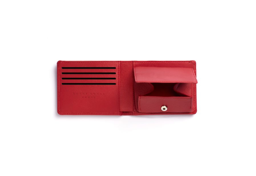 Red Minimalist Wallet With Coin Pocket by Carré Royal Open (LA901-Rouge)