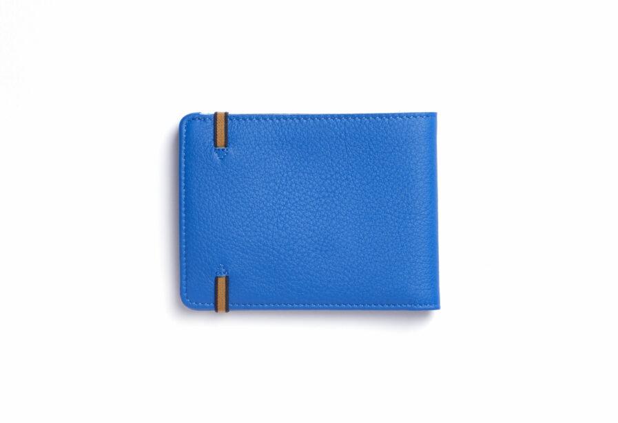 Portefeuille Minimaliste Bleu Ciel en Cuir de Carré Royal vue de dos (LA902 Bleu Ciel)