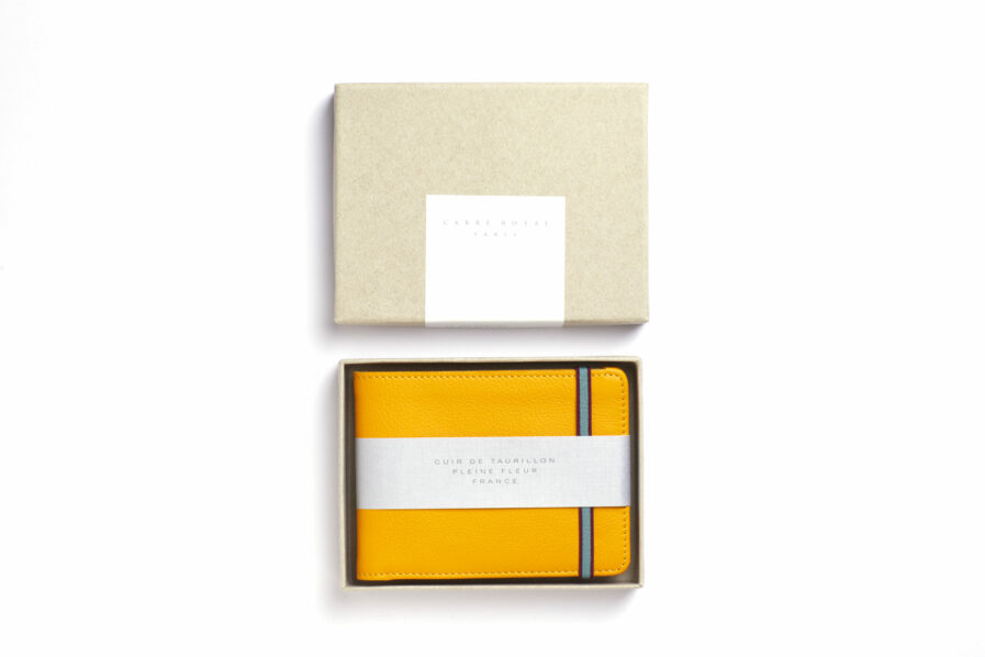 Yellow Minimalist Wallet by Carré Royal in the Box (LA902 Jaune)